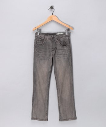 Gray Denim Straight-Leg Jeans - Boys