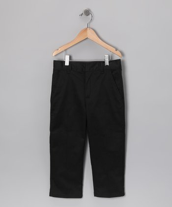 Black Flat-Front Uniform Pants - Toddler