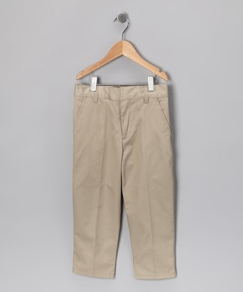 Khaki Flat-Front Uniform Pants - Toddler & Boys