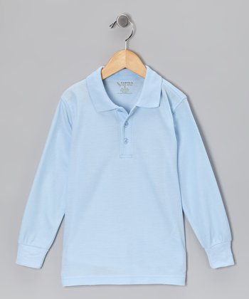 Light Blue Piqué Long-Sleeve Polo - Toddler & Boys