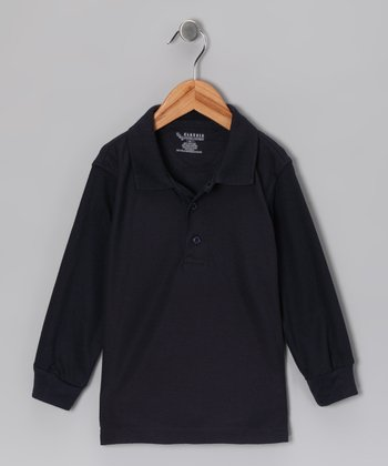 Navy Piqué Long-Sleeve Polo - Toddler & Boys