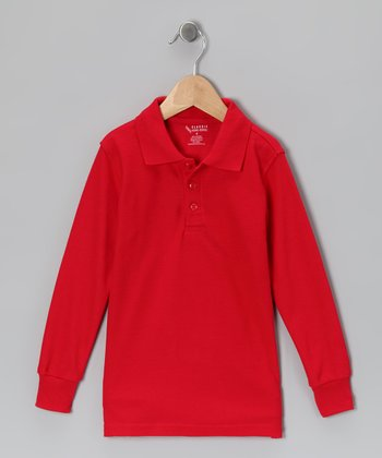 Red Piqué Long-Sleeve Polo - Toddler & Boys