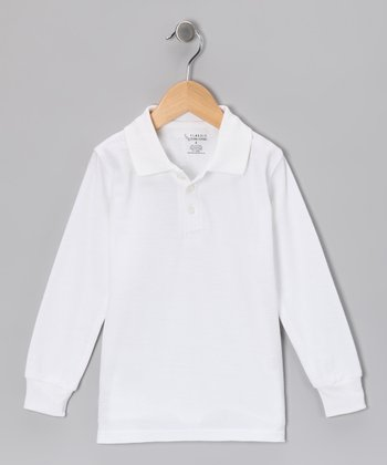 White Piqué Long-Sleeve Polo - Toddler & Boys