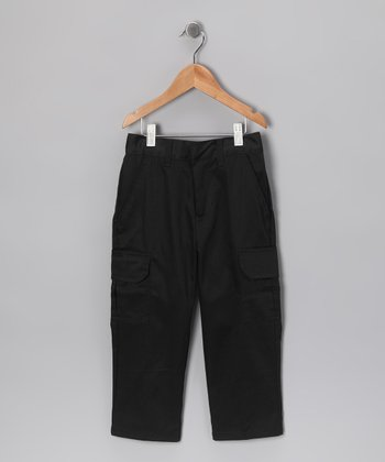Black Flat-Front Cargo Pants - Boys