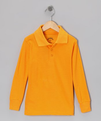 Gold Piqué Long-Sleeve Polo - Boys