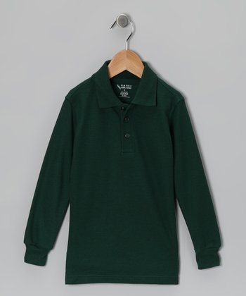 Hunter Green Piqué Long-Sleeve Polo - Boys