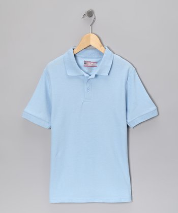Light Blue Piqué Short-Sleeve Polo - Boys