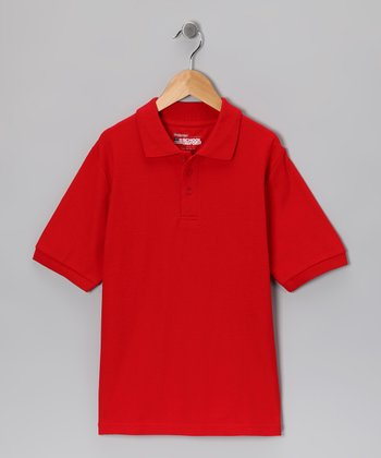 Red Piqué Short-Sleeve Polo - Boys