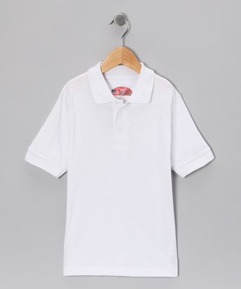 White Interlock Short-Sleeve Polo - Boys