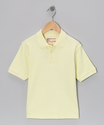 Yellow Piqué Short-Sleeve Polo - Boys