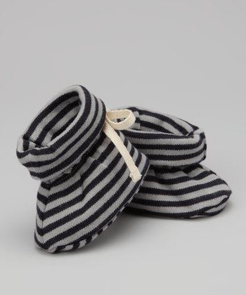 Navy Stripe Organic Booties