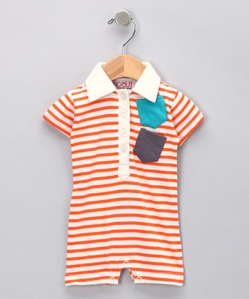 Orange Stripe Discover Organic Polo Romper - Infant