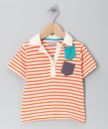 Orange Stripe Discover Organic Polo - Infant & Boys