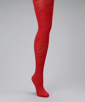 Brick Red Zebra Control-Top Shaper Tights - Women