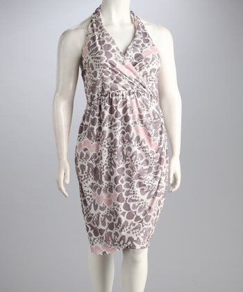 S.W.A.K. Designs Pink & Lavender Vienna Plus-Size Halter Dress