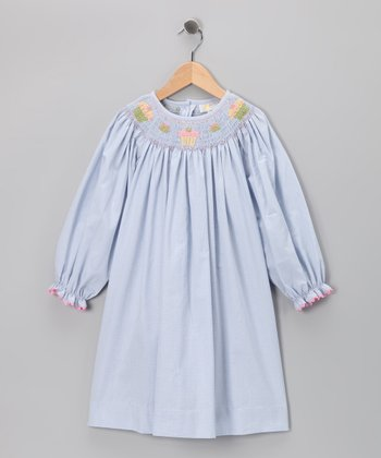 Blue Cupcake Long-Sleeve Bishop Dress - Infant, Toddler & Girls
