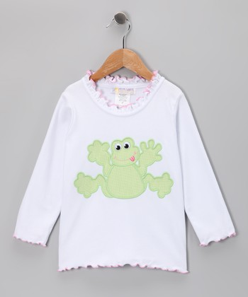 White Funny Frog Ruffle Tee - Toddler & Girls