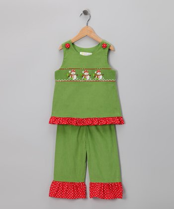 Green Snowman Smocked Top & Pants - Girls