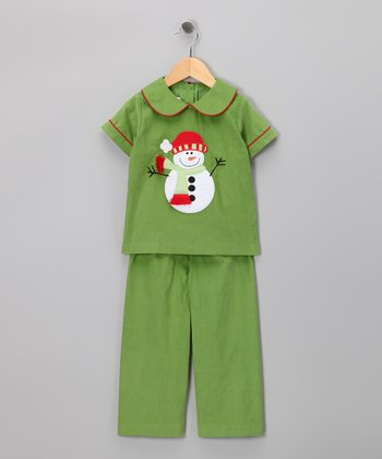 Green Snowman Shirt & Pants - Infant & Kids