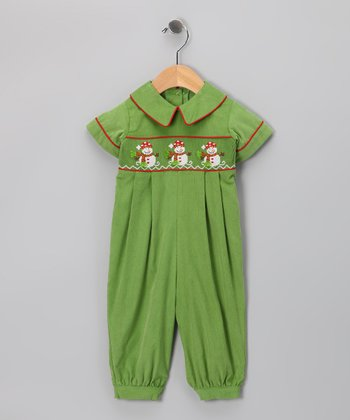 Green Snowman Playsuit - Infant