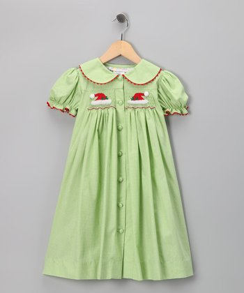 Green Santa Bishop Dress - Infant & Girls