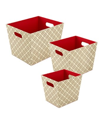 Bamboo Beige Tapered Storage Basket Set