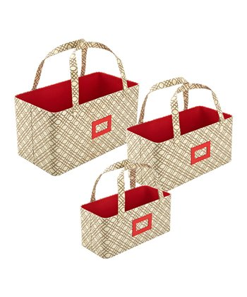 Bamboo Beige Nested Storage Basket Set