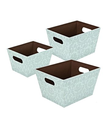 Baby Blue Damask Tapered Storage Basket Set