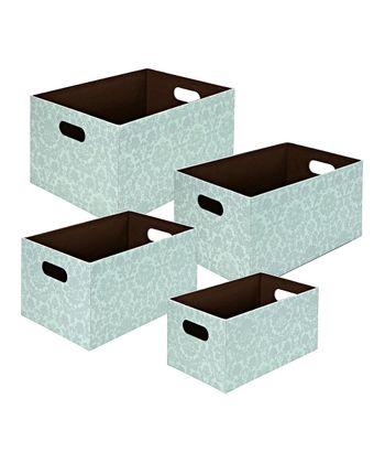 Baby Blue Damask Rectangle Storage Basket Set