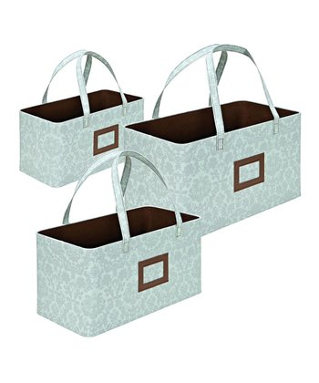 Baby Blue Damask Handled Storage Basket Set