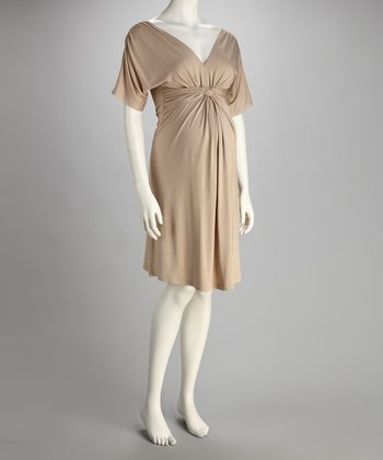 Khaki Knot-Front Maternity Dress