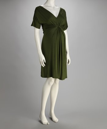 Olive Knot-Front Maternity Dress - Women
