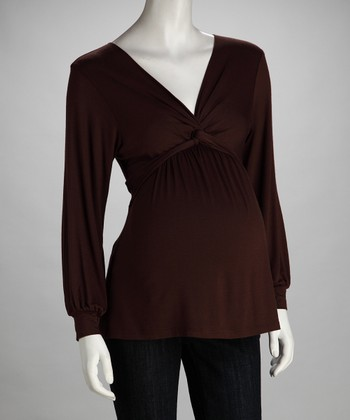 Brown Knot-Front Maternity Top