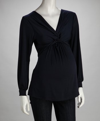 Navy Knot-Front Maternity Top