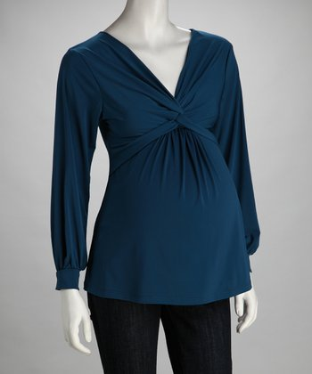 Teal Knot-Front Maternity Top