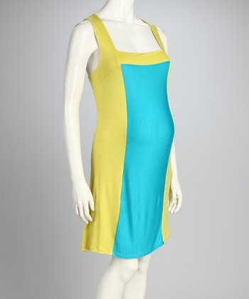 Lime Green & Blue Maternity Sleeveless Dress