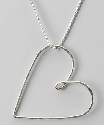 Large Recycled Silver Heart Necklace