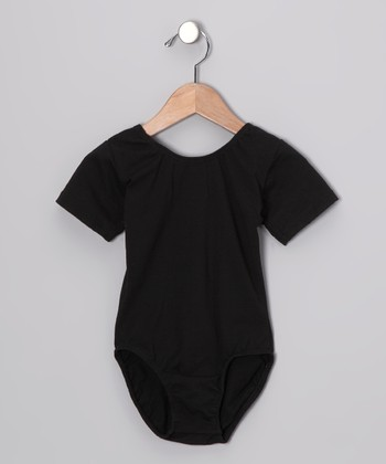 Black Stretchy Short-Sleeve Leotard - Toddler & Girls