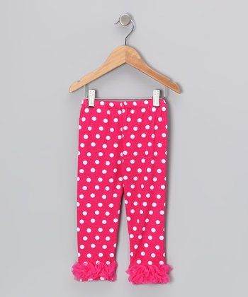 Fuchsia Polka Dot Ruffle Leggings - Infant, Toddler & Girls
