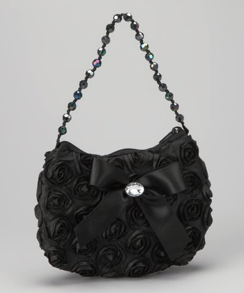 Black Rosette Bow Purse