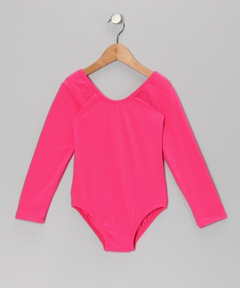 Fuchsia Stretchy Long-Sleeve Leotard - Toddler & Girls