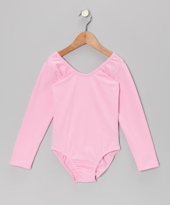 Light Pink Stretchy Long-Sleeve Leotard - Toddler & Girls