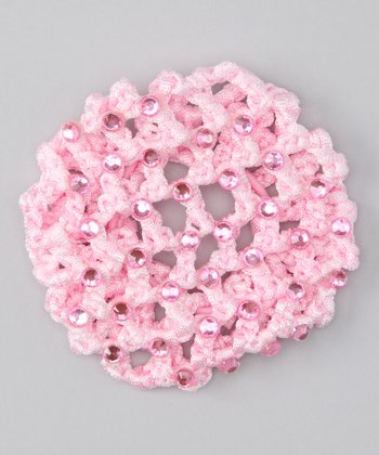 Pink Rhinestone Crocheted Bun Cover