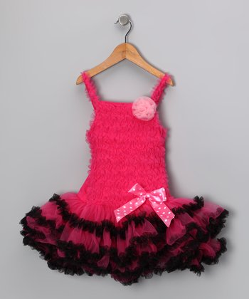 Hot Pink & Black Ruffle Bow Dress - Infant, Toddler & Girls