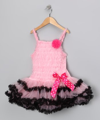 Light Pink & Black Ruffle Bow Dress - Infant, Toddler & Girls