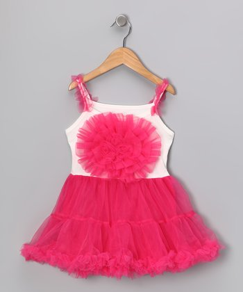 White & Hot Pink Flower Ruffle Dress - Infant, Toddler & Girls