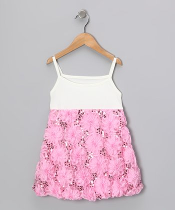White & Light Pink Sequin Flower Dress - Infant
