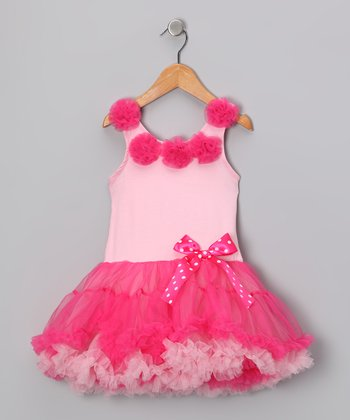 Light & Hot Pink Rosette Ruffle Dress - Infant, Toddler & Girls