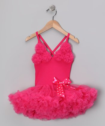 Hot Pink Rosette Ruffle Dress - Infant, Toddler & Girls