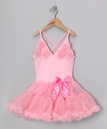 Light Pink Rosette Ruffle Dress - Infant, Toddler & Girls